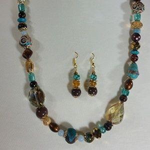 Teal & Amber Delight - Necklace Set